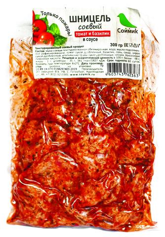 Шницель соевый в соусе томат базилик