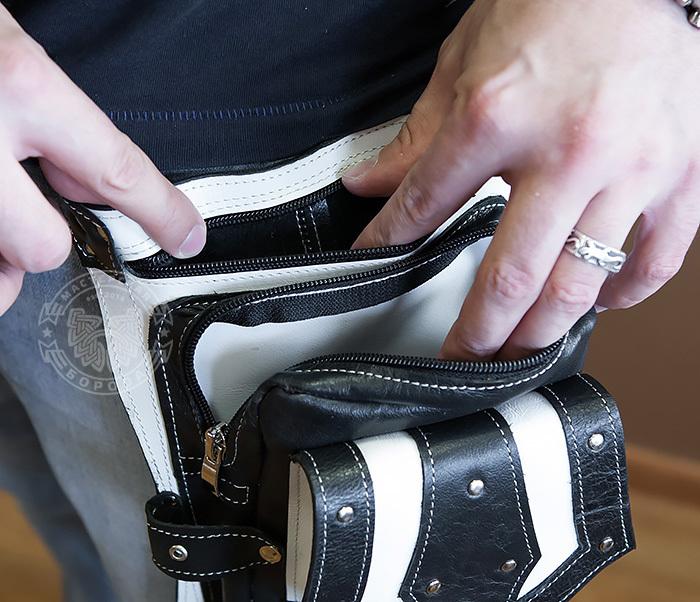 BAG373-4 Мужская сумка на бедро из белой и черной кожи, ручная работа фото 06