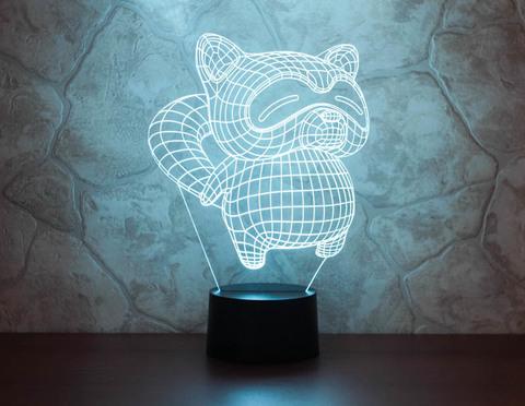3D лампа Енот