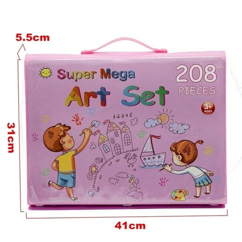Набор для рисования розовый в кейсе Super Mega Art Set, 208 предметов