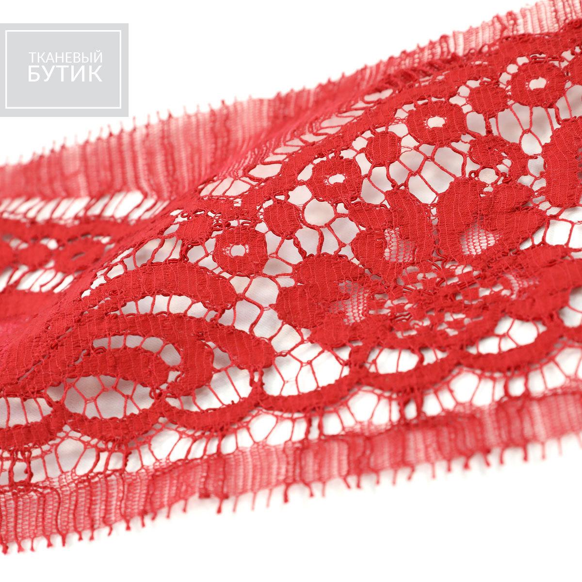 Красного цвета кордовое французское кружево в ленте