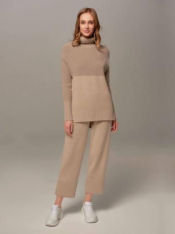 Женские брюки бежевого цвета из шерсти и кашемира - фото 1