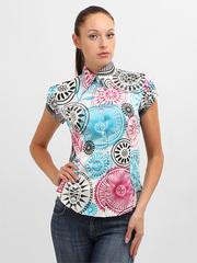 3434-1 блузка женская, черно-голубая