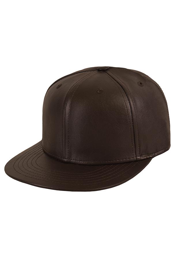Бейсболка кожаная коричневая фото 1