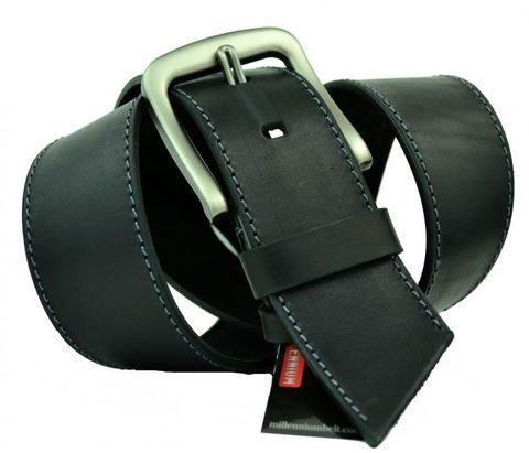 Мощный мужской широкий кожаный чёрный ремень 50 мм для джинсов 50Millen-013