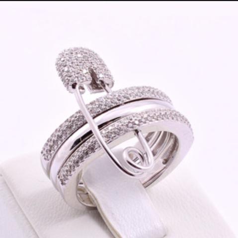 Тройное кольцо с булавкой  из серебра