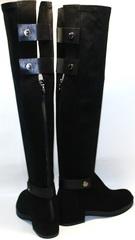Черные замшевые ботфорты на низком ходу Richesse R 441