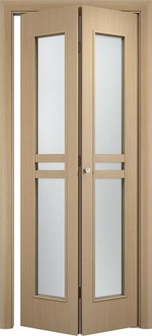 Дверь складная Верда С-23 (2 полотна), стекло Сатинато, цвет беленый дуб, остекленная