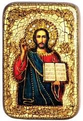 Икона Господа Иисуса Христа 15х10см, на натуральном дереве, инкрустированная, в подарочной коробке
