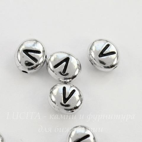 "Бусина овальная TierraCast ""Буква V"" 7х6х3 мм (цвет-античное серебро)"