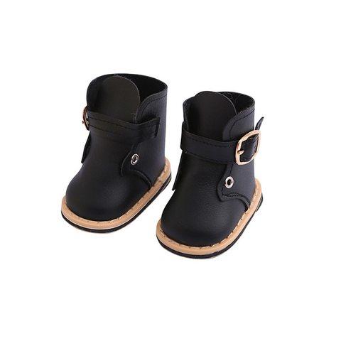 Ботинки с ремешком из искусственной кожи - черные