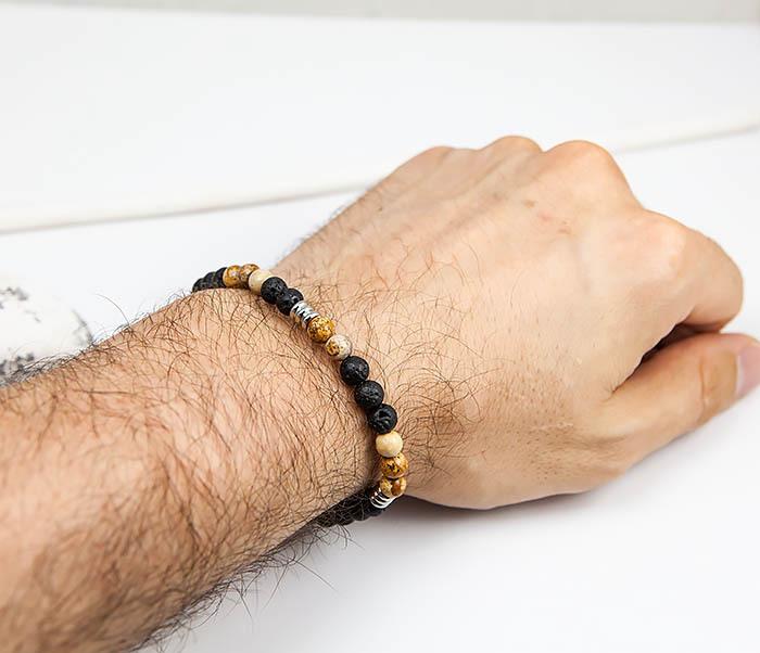 BS834 Мужской браслет из натуральной яшмы и лавы фото 08