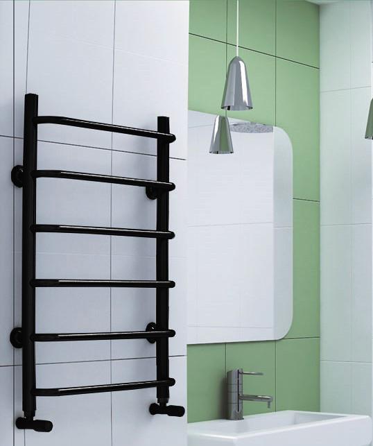 Stahdart E - электрический полотенцесушитель черного цвета.