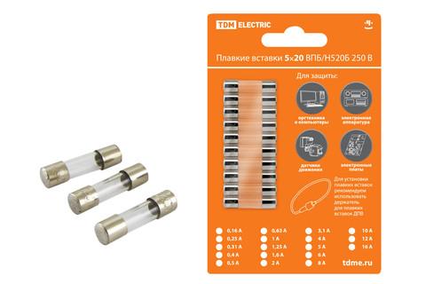 Плавкая вставка ВПТ6-2 0,25А 250В TDM упак (10 шт.)