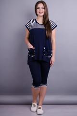 Иванка. Практичный женский костюм больших размеров. Синий.