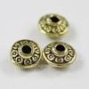 """Бусина металлическая - рондель """"Кружочки"""" 6х4 мм (цвет - античное золото), 10 штук"""