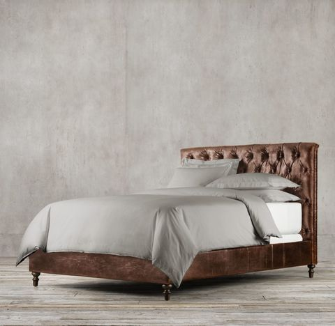 Chesterfield Leather Panel Bed