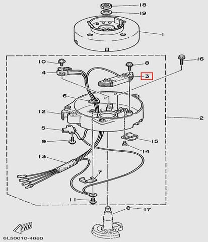 Катушка зажигания генератора (260 Ом)  для лодочного мотора T3S SEA-PRO (8-3)