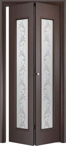 Дверь складная Верда С-21 (х) Вьюн (2 полотна), стекло Сатинато (вьюн), цвет венге, остекленная