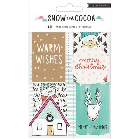 Высечки-теги  Snow & Cocoa от Crate Paper -12шт
