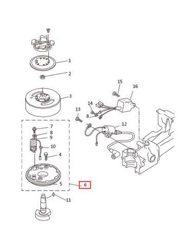 Магнетто в сборе  для лодочного мотора T2,5 SEA-PRO (5-6)