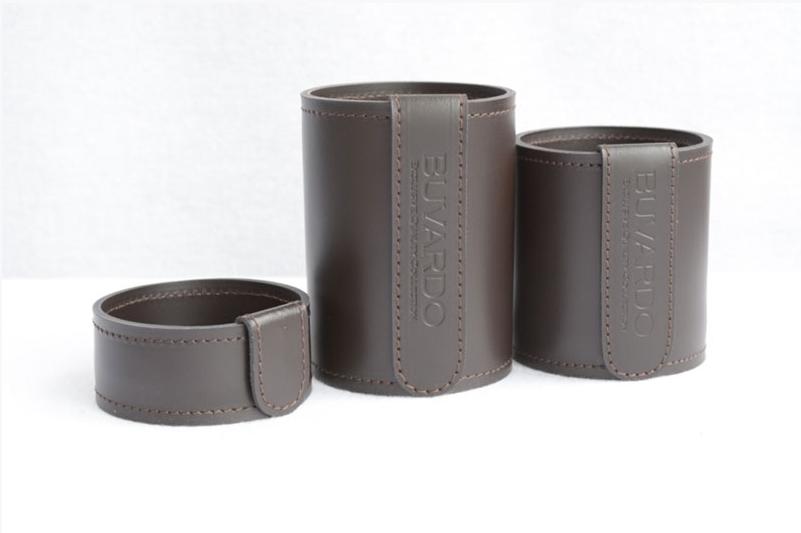 Кожаный стакан для ручек и карандашей Н4 H12 Н10 см кожа Cuoietto цвет темно-коричневый шоколад.