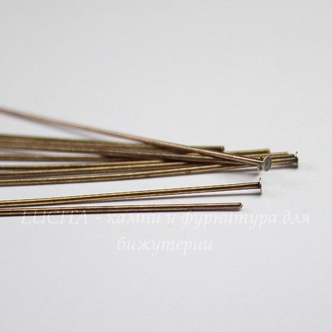 Пины-гвоздики TierraCast 51х0,7 мм (цвет-античная латунь), 10 штук
