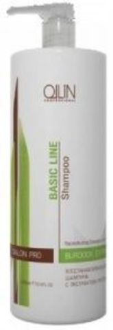 Восстанавливающий шампунь с экстрактом репейника, Ollin Basic Line,750 мл.