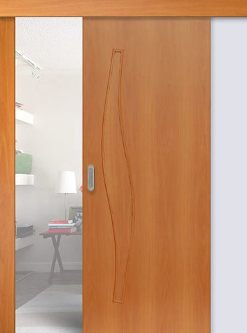 Дверь раздвижная Сибирь Профиль Волна (С-10), цвет миланский орех, глухая