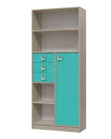 Шкаф-стеллаж с дверцей и ящиками ФЛОРИНА дуб сонома / аква