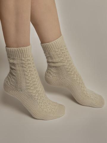Женские носки молочного цвета из 100% кашемира - фото 4