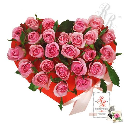 25 розовых роз в пробирке (сердце)
