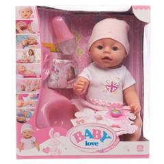 Интерактивный пупс BABY Love в бело-розовом платье с шапкой,