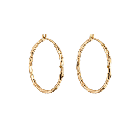 Серьги-кольца фактурные с цитринами в позолоте