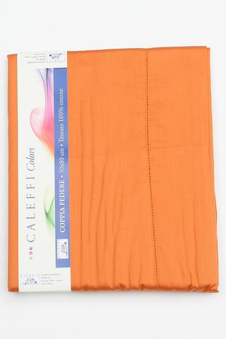 Простыня на резинке 200x200 Сaleffi Raso Tinta Unito с бордюром сатин оранжевая