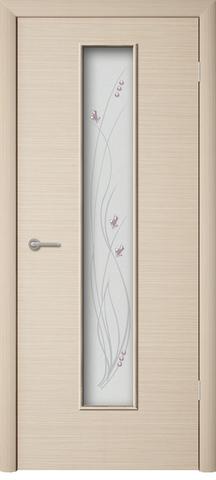 Дверь Сибирь Профиль Роса, фьюзинг, цвет беленый дуб, остекленная