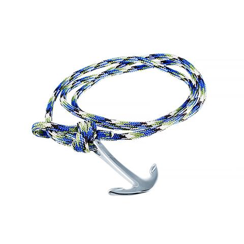 Стильный модный текстильный браслет с якорем 383-0003 в подарочной упаковке