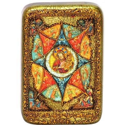 Икона Божией Матери Неопалимая купина 15х10см на натуральном дереве, в подарочной коробке