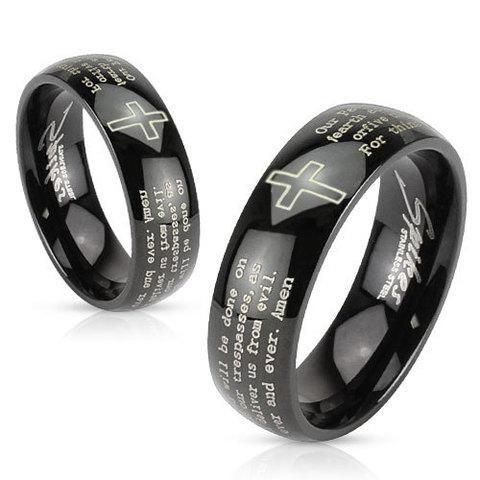 Парные чёрные кольца с молитвой для влюблённых мужчин и женщин из нержавеющей ювелирной медицинской хирургической стали 316L R-M2767