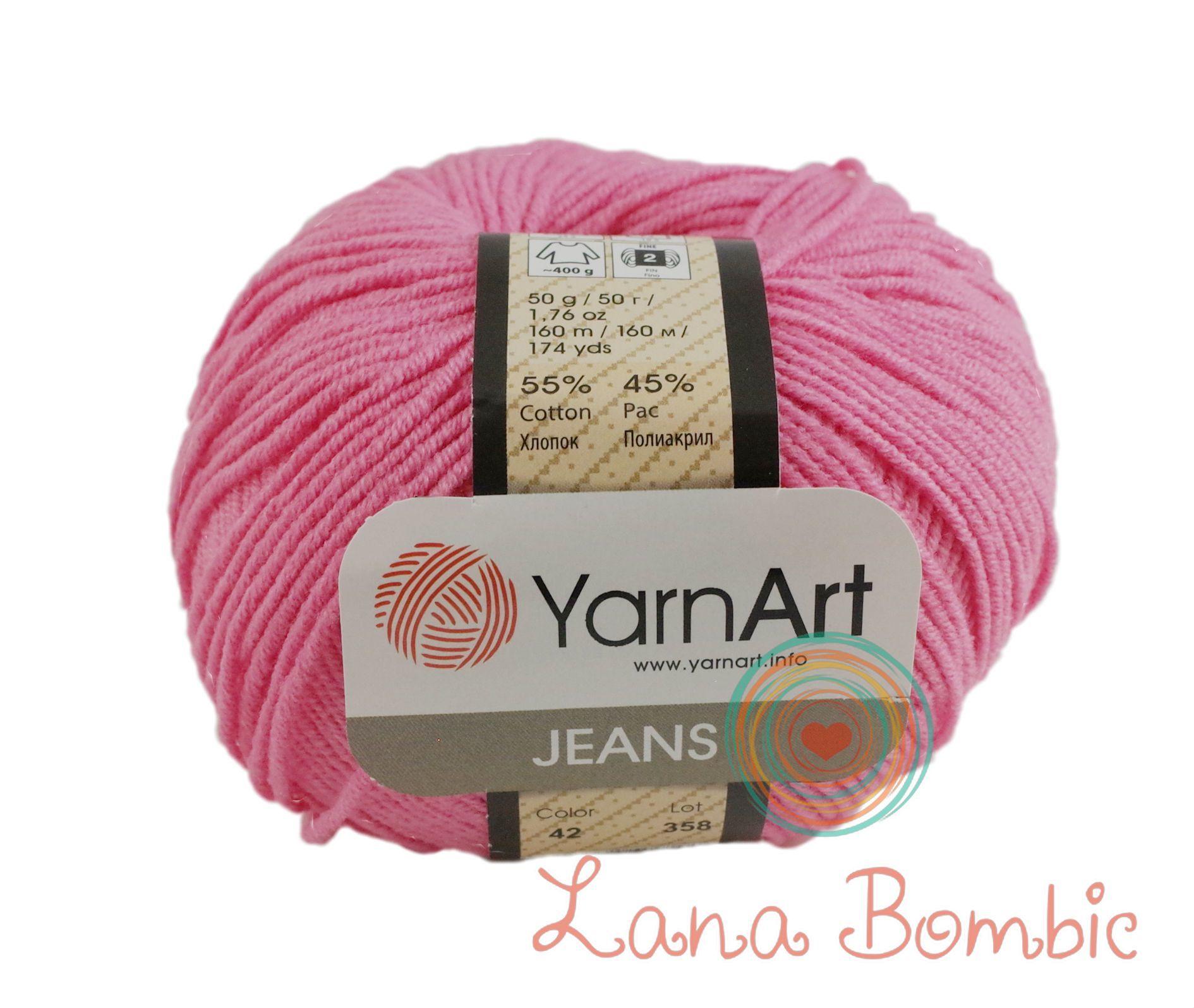 Пряжа YarnArt Jeans 42 ярко-розовый