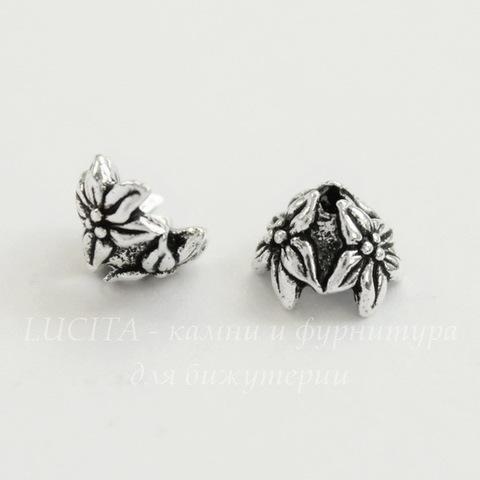 """Шапочка для бусины TierraCast """"Жасмин"""" (цвет-античное серебро) 7х4 мм"""