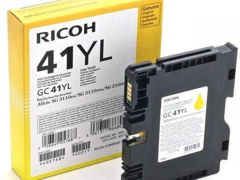LE Картридж для гелевого принтера GC41YL желтый для Ricoh Aficio SG2100N/3110DN/DNw. Ресурс 600 стр (405768)