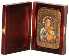 Икона Божией Матери Неувядаемый Цвет 15х10см на натуральном дереве, в подарочной коробке