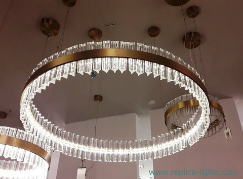 replica Saturno LED 1 ring gold   Pendant by Baroncelli