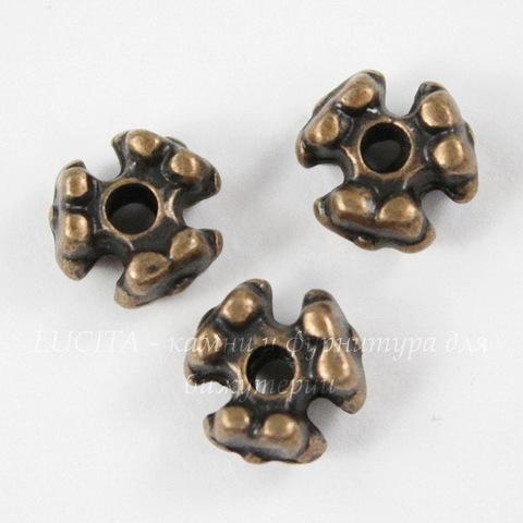 """Бусина металлическая """"Три цветка"""" 7х4 мм (цвет - античная медь), 10 штук"""