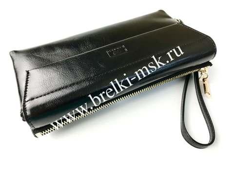 Женский клатч-кошелек из натуральной кожи. Цвет Черный