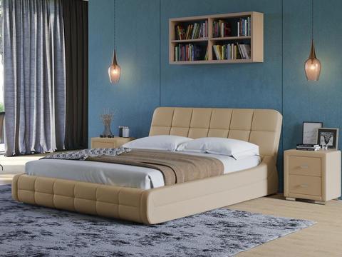 Кровать Экокожа бежевая