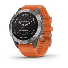 Мультиспортивные часы Garmin Fenix 6 Sapphire - титановый с оранжевым ремешком  010-02158-14