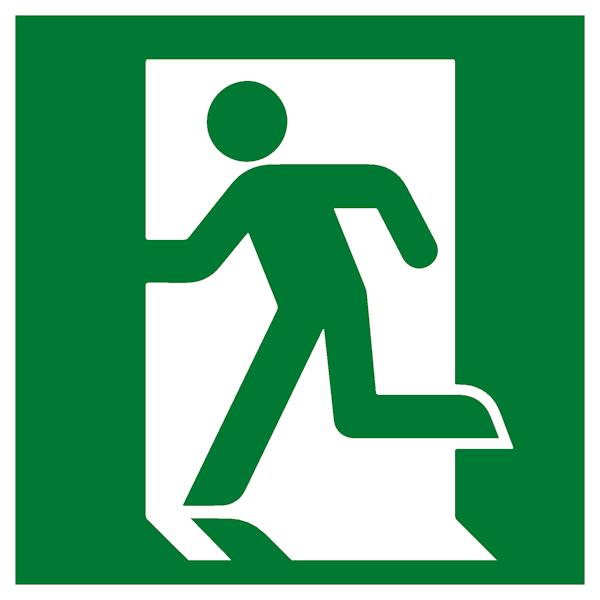 Эвакуационный знак Е 01-01 - Выход здесь левосторонний