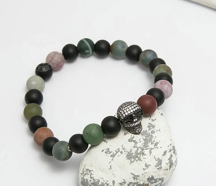 04458 Браслет ручной работы из разноцветного камня с черепом фото 04